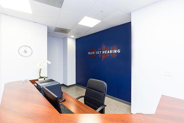Blue Sky Hearing reception desk.